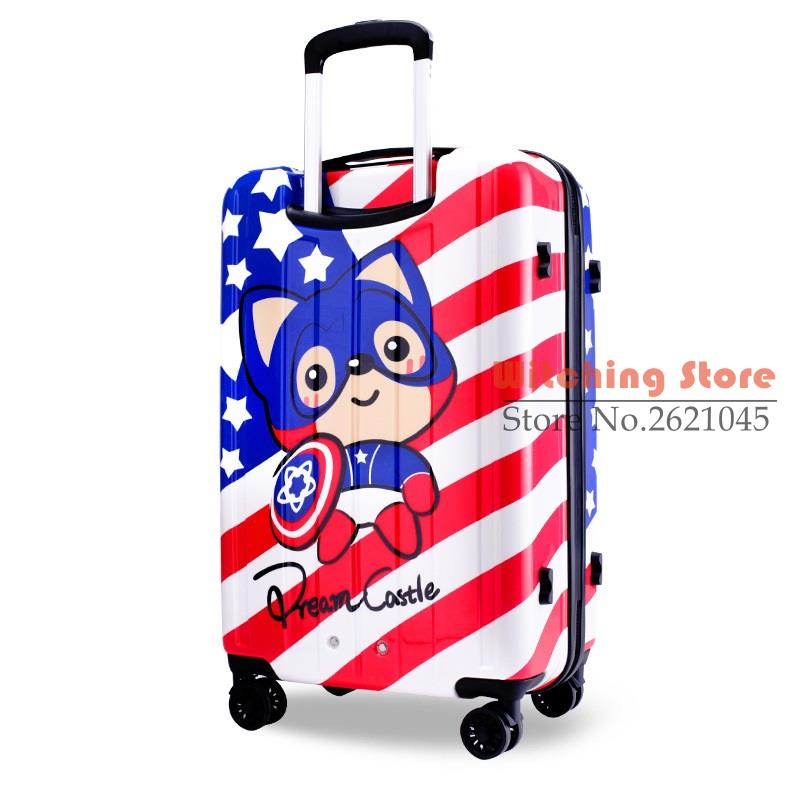 24 INCH 24 font b luggage b font captain Ali America adorable female cartoon universal wheel