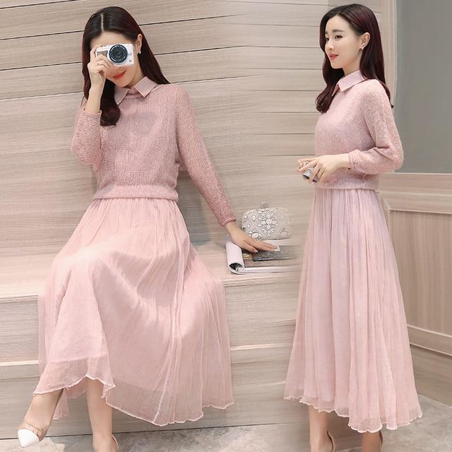 2017 New Spring Fashion Women Dresses Korean Two Pieces Plus Size