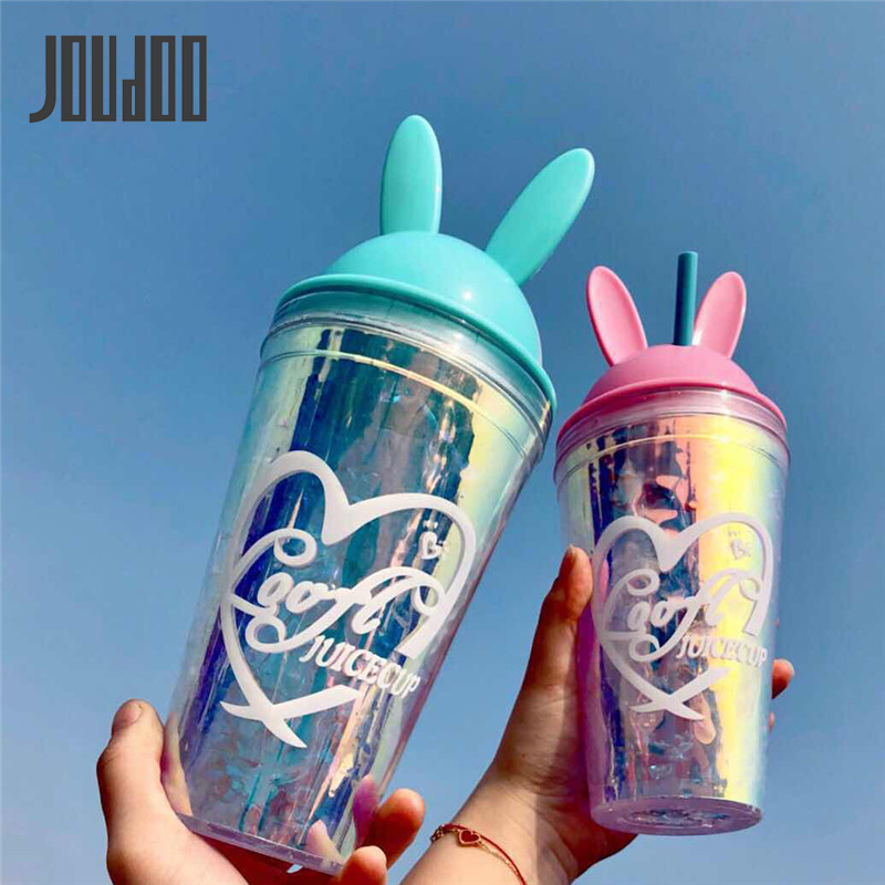 JOUDOO 550ml Creative Fashion New Rabbit Bottle Plastic Daily Ice Portable Drinkware Tour Bottles for Lovers 35