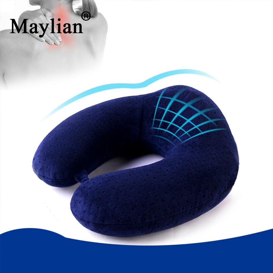 De espuma de memoria en forma de U cuello almohada de cuidado de la salud almohada avión coche de viaje almohada para adultos y el bebé Oficina vuelo regalo bolsa p18