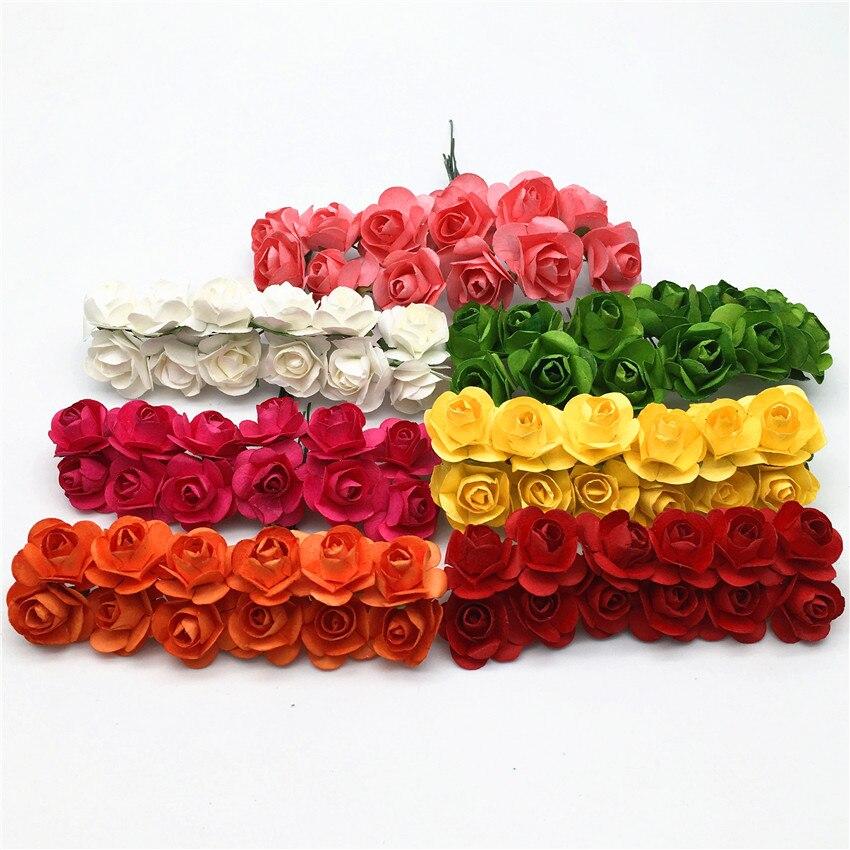 144 шт./лот 2 см мини розы голову искусственный цветок многоцветный Бумага Поддельные букет для Скрапбукинг Свадебная вечеринка украшения