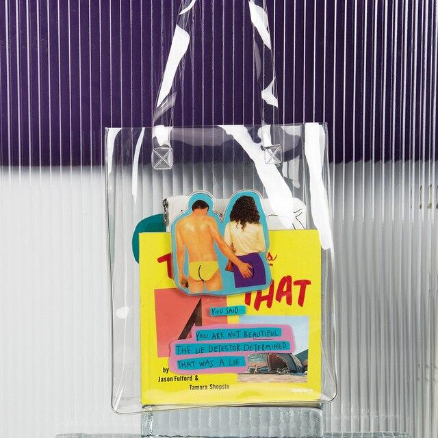 YIZISTORE оригинальные повседневные из прозрачного ПВХ печатный журнал сумки на плечо для девочек и мальчиков в летний день серии 2018 (весело КИК)