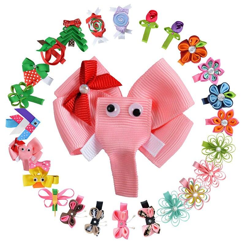 24PCS 2-2.5 Hair Accessories Hair Clip For Girls Kids DIY Flower Hair bow Cute animals Hair pin Ribbon Barrette XCA014