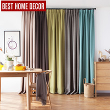 BHD linen modern pleated cloth blackout curtains for window blinds Japan style blackout curtains for living