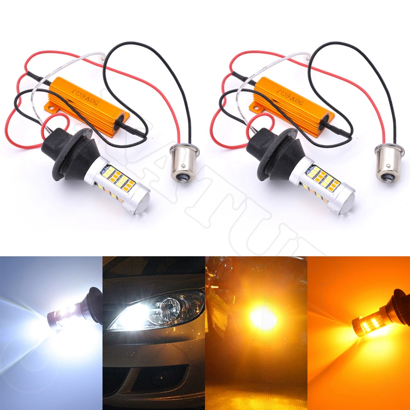 2pcs 80W 1156PY 7507 PY21W BAU15S Canbus LED Car Rear Direction Indicator Auto Front Turn Signals Light Duan Color White/Amber ijdm amber yellow error free bau15s 7507 py21w 1156py xbd led bulbs for front turn signal lights bau15s led 12v