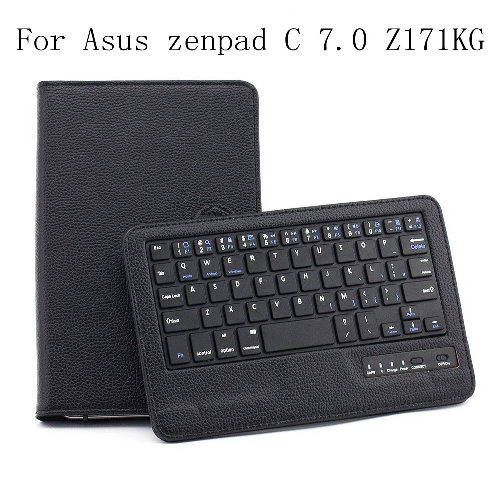 Top Flip PU Leather Smart Fold Cover For Asus zenpad C 7.0 Z171KG Wireless Bluetooth Keyboard Case+Stylus Pen+Film.