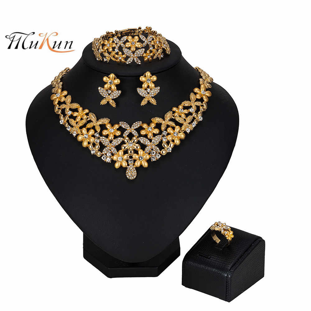 MUKUN 2019 African Beads Crystal Jewelry Sets Brand Dubai Gold-colorful jewelry sets Wholesale customer nigerian bridal bead set
