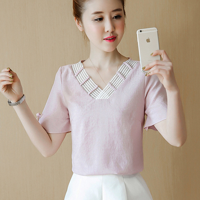 2018 Summer Women Tops Short Sleeve Casual Chiffon Blouse Female V-Neck Work Wear Solid Color Office Shirts For Women Blusas