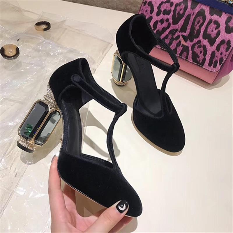 Knsvvli T ceinture cristal chaussures à talons hauts femme pierres précieuses talon boucle banquet chaussures femmes pompes vert vin rouge velours zapatos mujer - 3