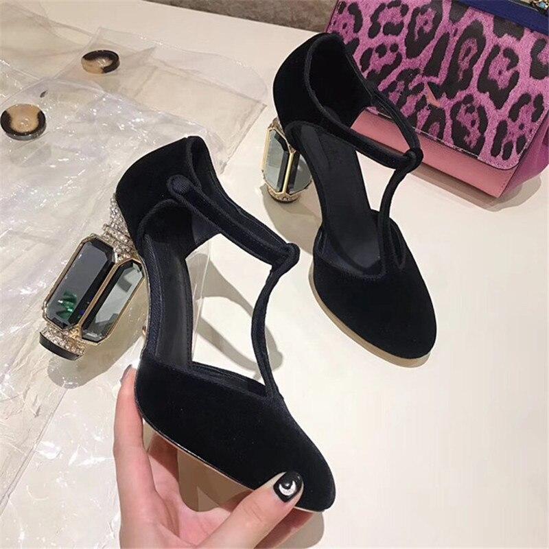 Knsvvli/туфли на высоком каблуке с Т образным ремешком, украшенные кристаллами; женские туфли для торжеств на каблуке с пряжкой и драгоценными камнями; женские туфли лодочки; Цвет зеленый, бордовый; бархатная обувь; zapatos mujer - 3