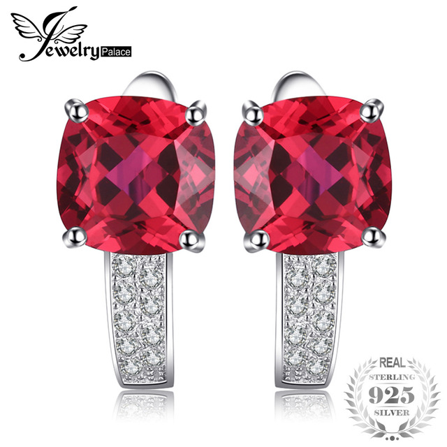 JewelryPalace Red Ruby stone Earrings For Women/Girls 925 Sterling Silver 4ct gemstone Wedding Fine Jewelry Brand