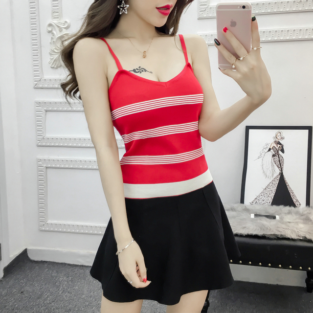 bdeb21a1aa277 Women Knitting Stripes Tank Tops Camises Girls Knitted Basic Stretchy  Knitwear Camisole Sleeveless Sweater Tee shirts Camis