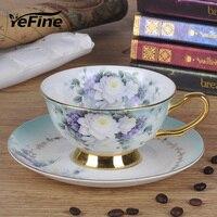 YeFine 유럽 스타일의 커피 컵과 정장 세라믹 영어 찻잔 세트 뼈 중국 음료 용기 주방 액세서리 세트