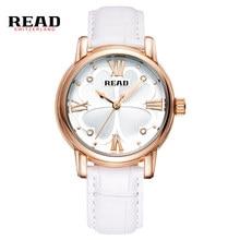 98af0213c8 Leer reloj de mujer de moda de diseño de trébol de cuatro relojes de mujer  superior de la marca de lujo de blanco correa de cuer.