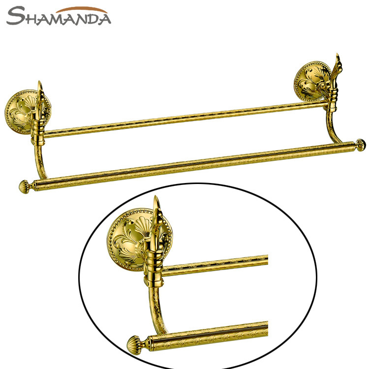 Free Shipping Bathroom Accessories Products Solid Brass&Zinc Titanium Golden Double Towel Bar,Gold Towel Holder Rack Tail,66009G free shipping solid brass made golden finish double towel bar towel holder towel rack bathroom accessories products og 27848c