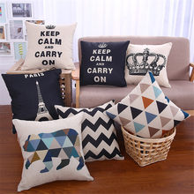Decorative square shape scenic building tower sofa home cotton linen cushion cover geometric crown pillowcase 45x45cm(China)