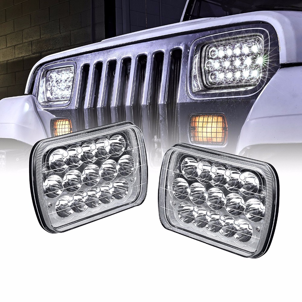 5x7 inch Led Headlights Rectangle 7x6 Led Headlights Pair 6054 Led Headlight Hi/Low Led Sealed Beam Chevy For Jeep Wrangler