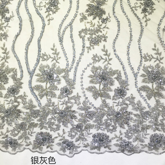 1 yard silver grey heavy beaded bridal lace fabric guipure mesh lace with 3D flowers super