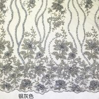 1 yard silver grey heavy beaded bridal lace fabric, guipure mesh lace with 3D flowers, super dedicate lace