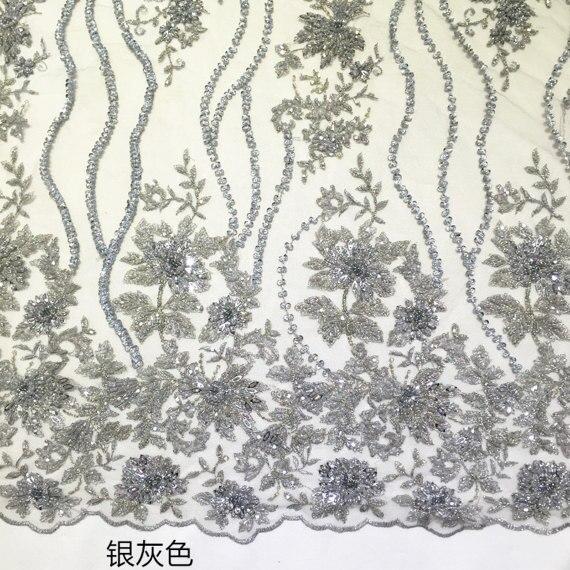 Tissu de dentelle de mariée perlé lourd gris argent 1 yard, dentelle de maille guipure avec des fleurs 3D, dentelle super dévouée-in Dentelle from Maison & Animalerie    1