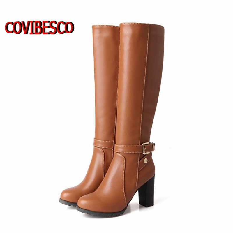 ФОТО 2015 Women winter fashion pu leather high heels knee high buckle classic design snow boots for woman motorcycle boots long shoes