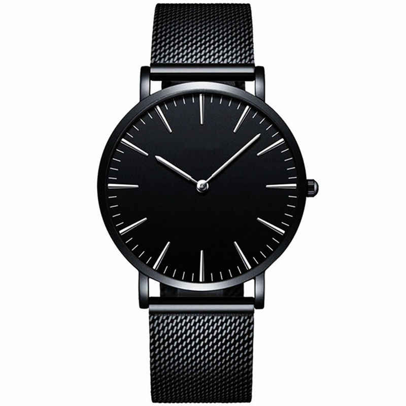 Pria Baja Penuh QUARTZ Watch Mens Fashion Panas Jam Tangan Hitam Emas Perak Pria Relojes Masculino DROP Shipping Analog Jam Tangan