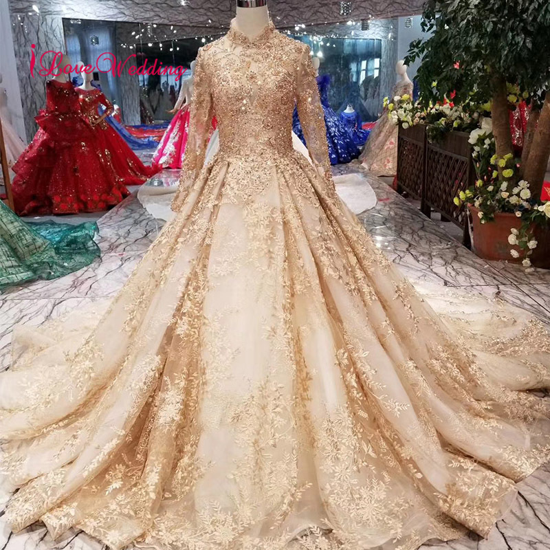 LS41106 Luxury Muslim Wedding Dress Long Sleeves Custom made Gold Lace Applique Beaded Gorgeous Bride Dress