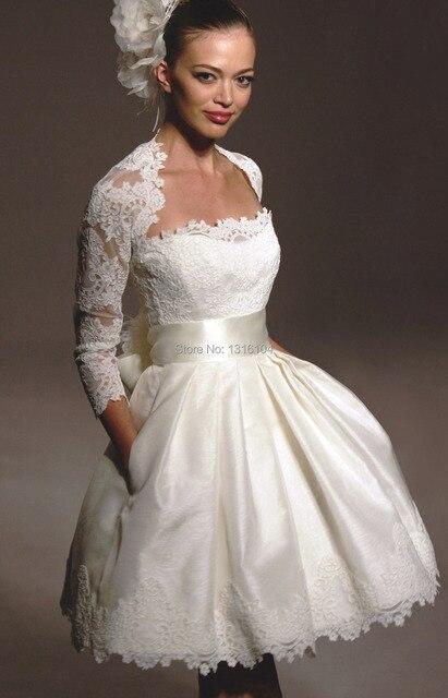 Vintage balón vestido de marfil tafetán vestido de boda corto 2016 ...