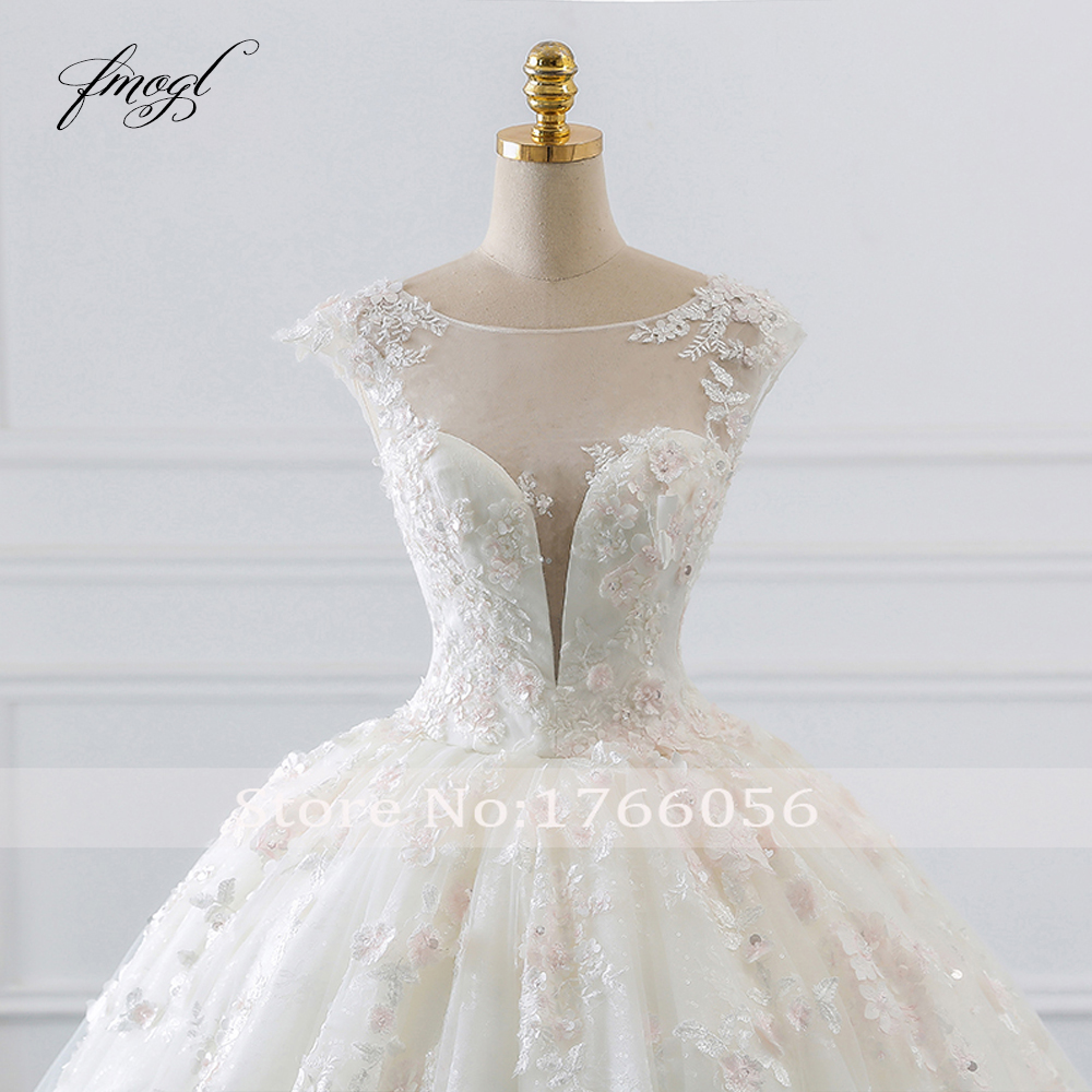Image 4 - Fmogl Vestido De Noiva Princess Ball Gown Wedding Dresses 2019 Appliques Beaded Flowers Chapel Train Lace Bridal Dress-in Wedding Dresses from Weddings & Events