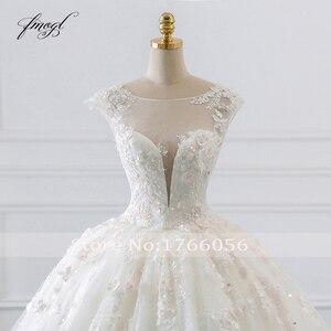 Image 4 - Fmogl Vestido דה Noiva נסיכת כדור שמלת חתונת שמלות 2019 אפליקציות חרוזים פרחי קפלת רכבת תחרת כלה שמלה