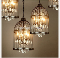 50 60cm Nordic Birdcage Crystal Pendant Lights Iron Lampshade Home Decor American Country Vintage Industrial Coffee