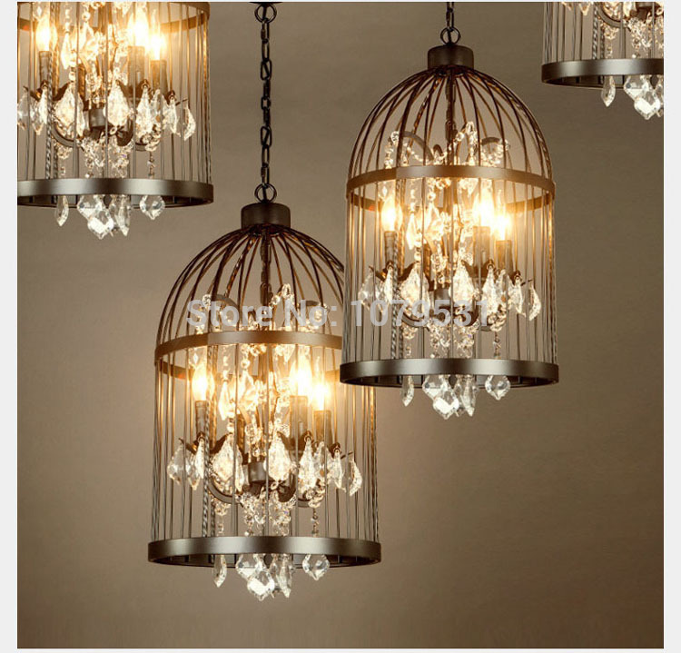 35 45cm Nordic Birdcage Crystal Pendant Lights Iron Cage Home Decor American Vintage Industrial Lamp
