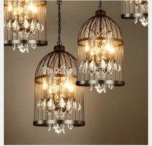 35 / 45 cm Nordic jaula cristal lamparas colgantes jaula de hierro decoración del hogar americano lámpara Industrial Vintage Retro luces colgante