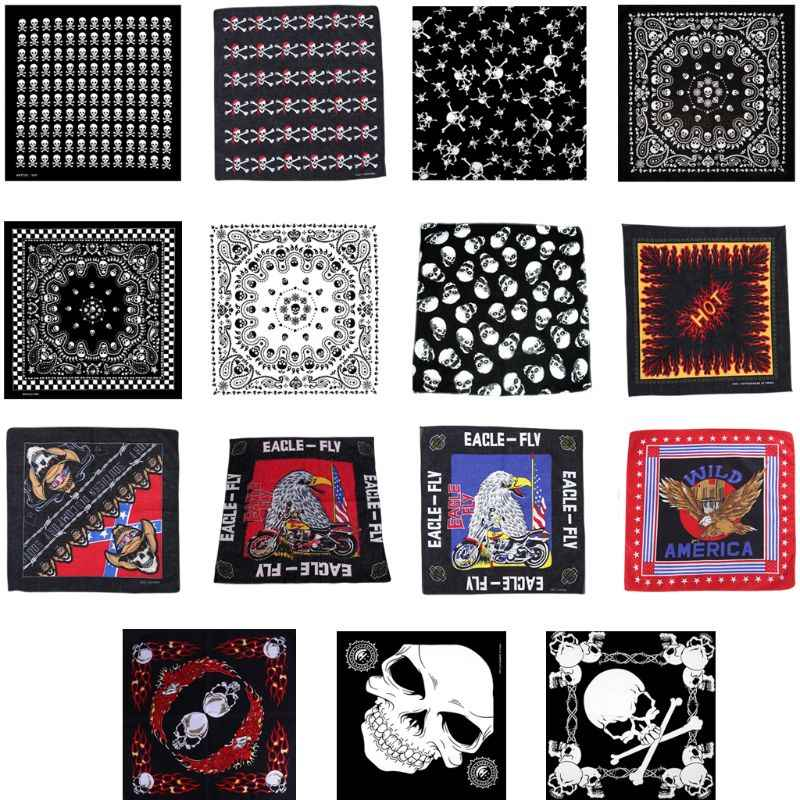 Unisex Flaming Skull Square Bandanas Cotton Motorcycle Eagle Print Neck Tie Biker Handkerchief Hip Hop Dancing Head Wrap 54x54cm
