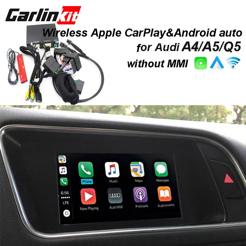 2019 Apple CarPlay Android Auto inalámbrico decodificador para Audi A4 A5 Q5 sin MMI pantalla Original imagen inversa Retrofit kit de