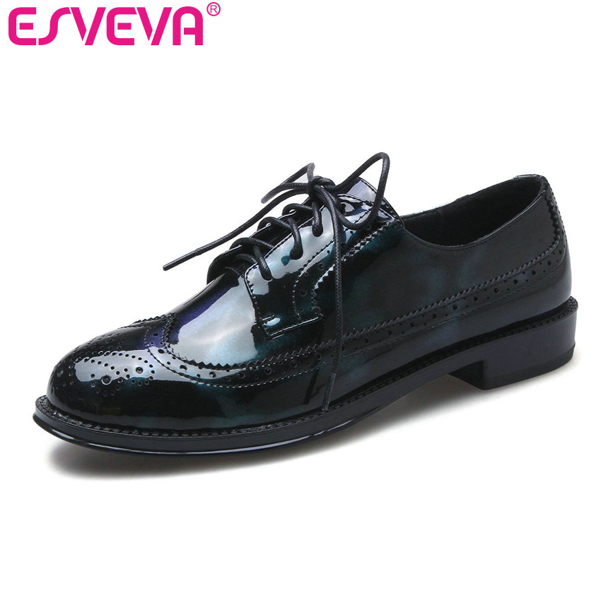 ESVEVA 2017 Western Style Round Toe Casual Shoes Low Heel Women Pumps College Symphony Patent Leather Spring Shoes Size 34-39 vinlle 2017 women pumps college style square med heel vintage slip on pu leather shoes casual round toe girl shoes size 34 40