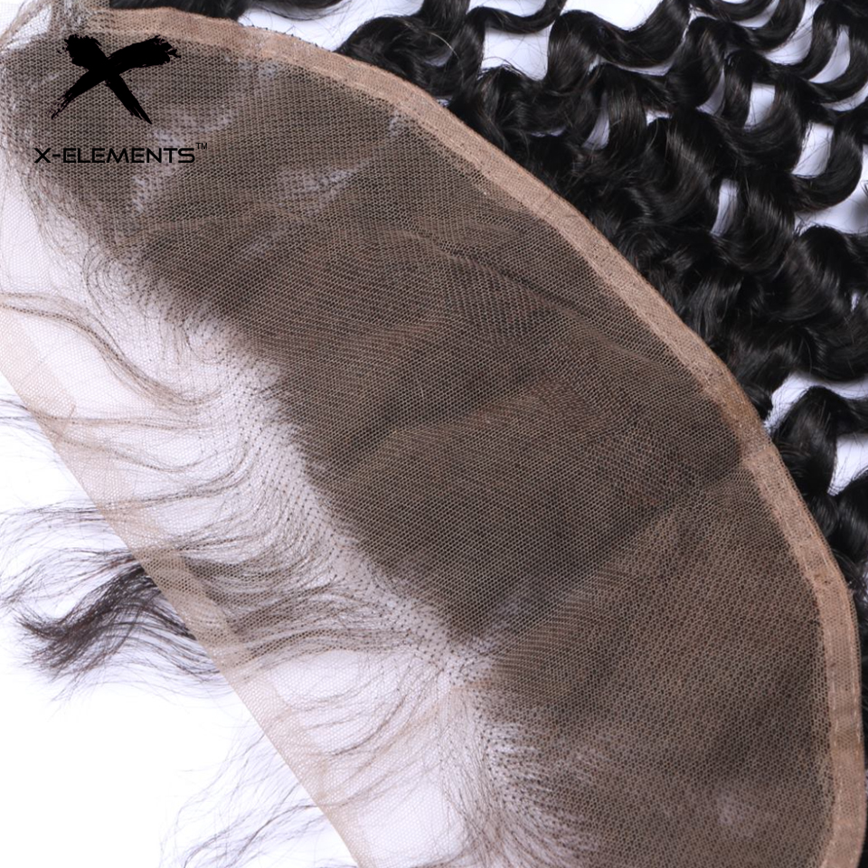 X-Elements Brazilian Deep Wave Frontal 100% Human Hair 13x4 Lace Frontal Deep Wave Non-Remy Natural Color Hand Tied Lace Frontal (5)