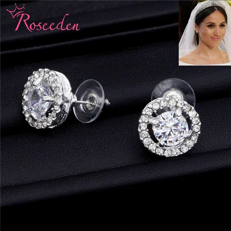 Meghan Markle Wedding earrings Jewelry Fashion CZ Rhinestone For Women round Earrings RE3183