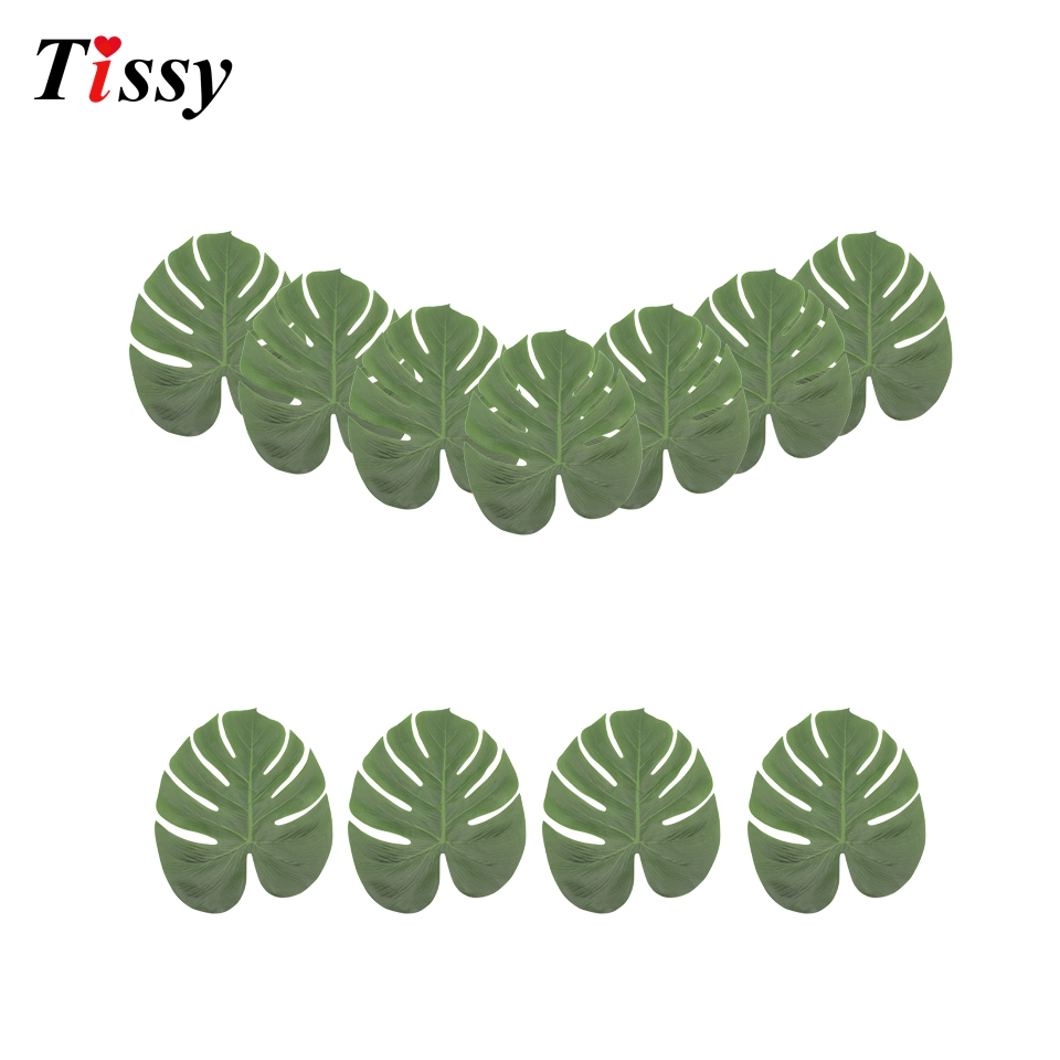 48PCS Artificial Leaves Tropical Palm Leaves For DIY Summer Theme Party Table Runner Decor Home Garden Wedding Party Decoration