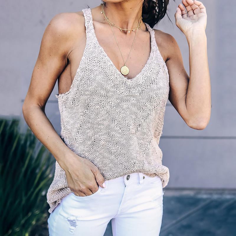 2018 New Knitted Tops Women Summer Cropped V Neck Sleeveless Crop Top Women Elastic Tube Knit Beach Wear WS6916V