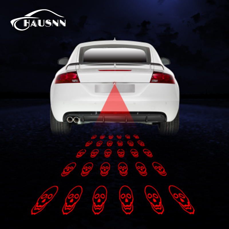 SUNKIA Skull Pattern Anti Collision Rear-end Car Laser Tail Fog Light Auto Brake Parking Lamp Rearing Warning Light Car Styling