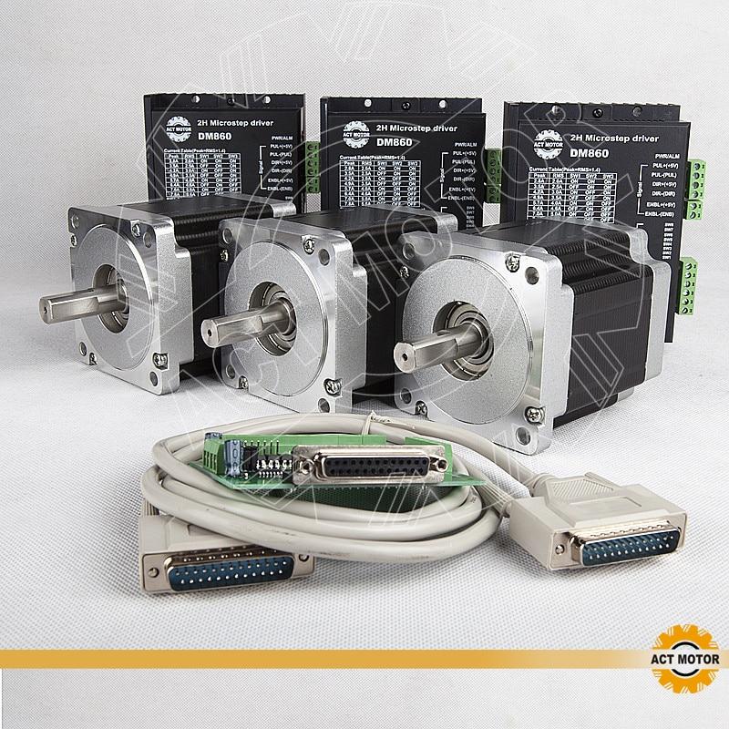 ACT CNC Router 3PCS Nema34 Stepper Motor 34HS5460 Single Shaft 1700oz-in 151mm 6A+3PCS Driver DM860 7.8A 80V  Cut Mill PlasmaACT CNC Router 3PCS Nema34 Stepper Motor 34HS5460 Single Shaft 1700oz-in 151mm 6A+3PCS Driver DM860 7.8A 80V  Cut Mill Plasma
