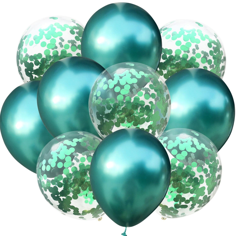10 шт./лот, 12 дюймов, 5 шт., металлический цвет+ 5 шт., конфетти, латексные шары, для детей, для дня рождения, украшения, шары, мультяшная шляпа, игрушка - Цвет: green