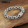 100% Genuine 925 Sterling Silver Vintage Punk Link Chain Bracelet Thai Silver Jewelry for Man or Women Jewelry 9mm