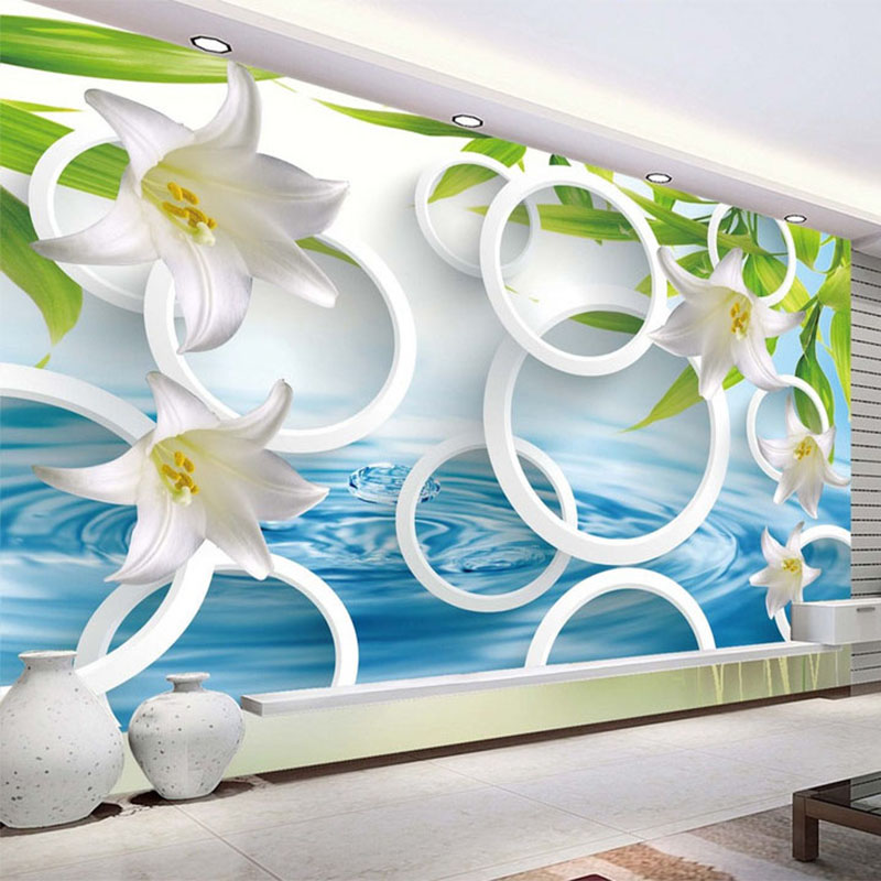 Modern Simple Fresh Lily Circles 3D Stereo Photo Wallpaper Living Room TV Sofa Backdrop Wall Mural Papel De Parede Floral F