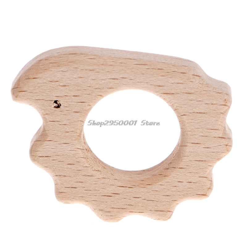 2017  Baby  Handmade Natural Wooden Teether Teething Hedgehog Pendant  Shower Toys DIY  Gift     AUG29_20