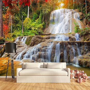 Custom Wallpaper Murals 3D HD Forest Rock Waterfall Photography Background Wall Painting Living Room Sofa Photo Mural Wallpaper цена 2017