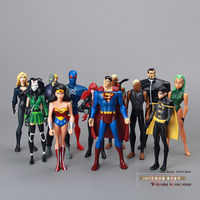 Free Shipping Superheros DC Universe YOUNG JUSTICE Superman Robin Wonder Woman Micron AQUALAD Action Figures 12pcs/lot