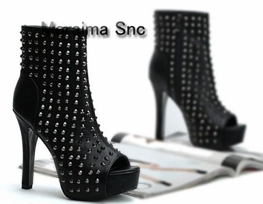 Moraima Snc black leather studded ankle boots summer boots European woman high heel boots sexy peep toe silver spikes shoes boot