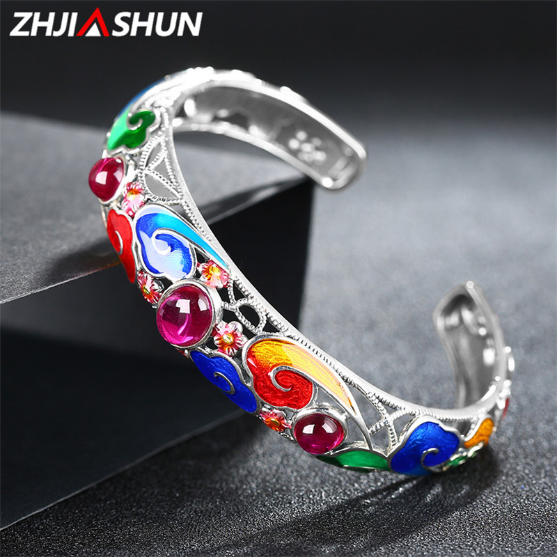 ZHJIASHUN Hollow 925 Silver Ruby Bracelets Cuff Bangles for Women Ethnic Style Chinese Cloisonne Sterling Silver Jewelry gothic style floral hollow faux ruby anklet for women